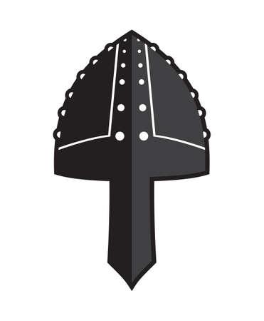 vector illustration: Iron helmet of the medieval knight vector icon