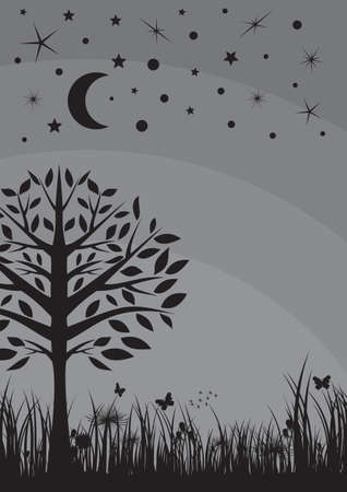 tree grass: Midnight silhouette tree, grass, moon and stars