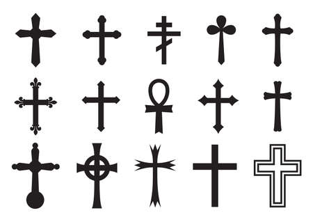 jesus on the cross: Vector icon cross set Illustration