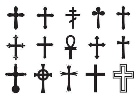 Vector icon cross set Vectores