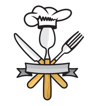 cutleries: Cutlery - knife, fork and spoon restaurant vector icon Illustration
