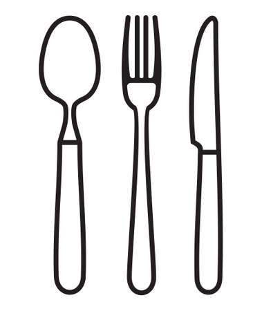 knife fork: Cutlery - knife, fork and spoon outline vector