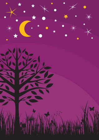 night view: Midnight silhouette tree, grass, moon and stars