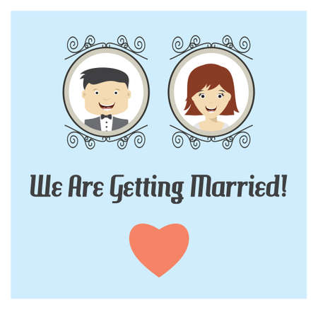 getting married: We are getting married vector card Illustration