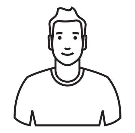 white face: Man Avatar outline vector icon