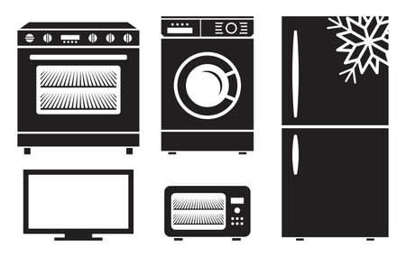gas cooker: household appliances vector icons
