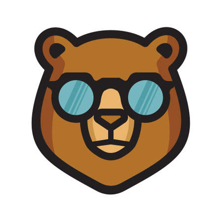 Bear with sunglasses vector icon Illustration