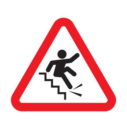 계단 표지판에서 떨어지는 경고