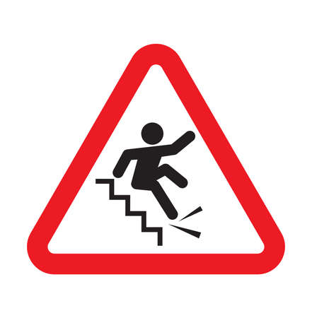 trip hazard: Warning falling off the stairs sign