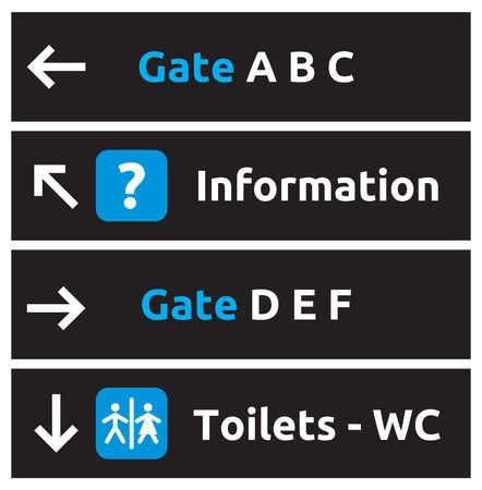 flechas direccion: Signos de aeropuerto Vectores