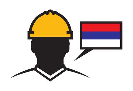 man head: Serbia contractor vector icon