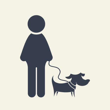 blind dog: Man and dog vector icon Illustration