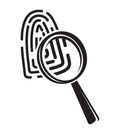 forensic: Fingerprint through magnifying glass - investigation icon