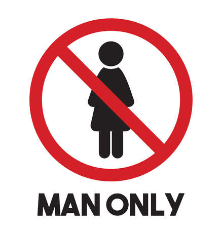 only man: Man only vector icon - women prohibited Illustration
