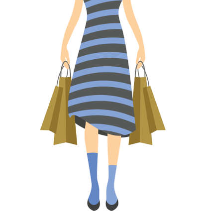 lady in red: Shopping girl vector illustration