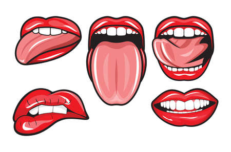mouth: Female red lips and mouth Illustration