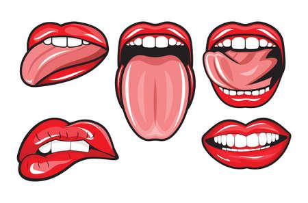 la boca: labios rojos femeninos y la boca Vectores