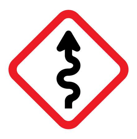 Winding Road Sign Illustration