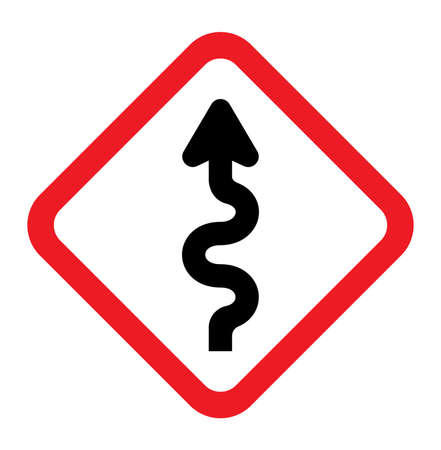 slippery warning symbol: Winding Road Sign Illustration
