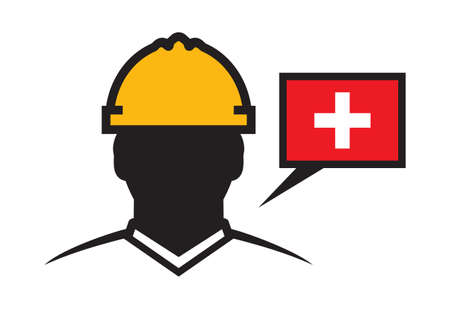 construction projects: Switzerland contractor vector icon - construction engineer
