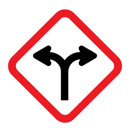 ramification: Forked road sign