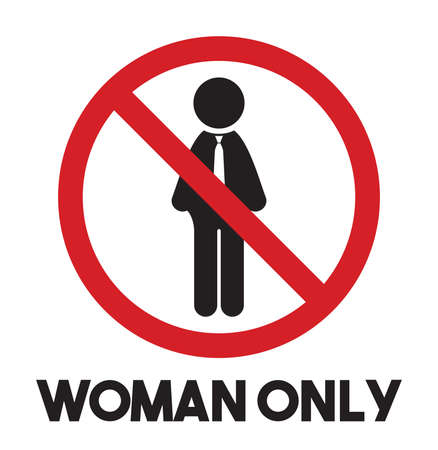 only men: Woman only vector icon - men prohibited Illustration