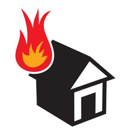 arson: home fire icon Illustration