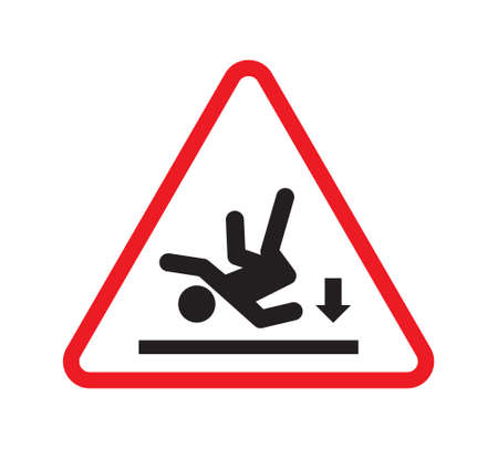 slippery: Wet floor warning sign - slippery floor sign Illustration