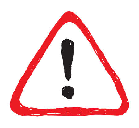 Hazard hand drawn warning attention sign with exclamation mark symbol Ilustração