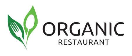 saludable logo: restaurante orgánico símbolo vector Vectores