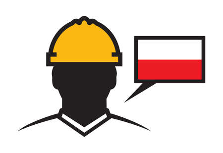 safety hat: Poland contractor vector icon