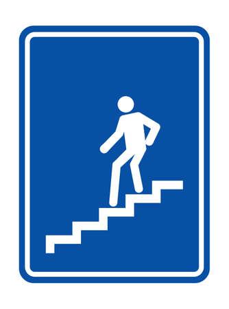 bajando escaleras: El hombre en las escaleras bajando símbolo Vectores
