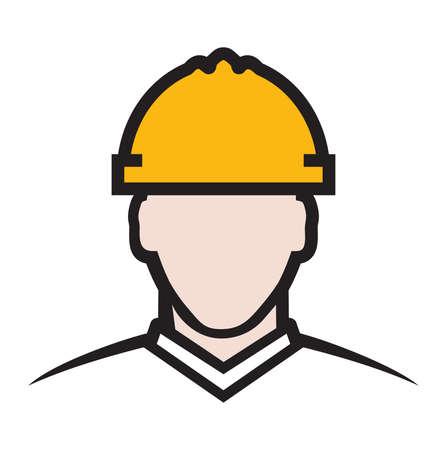 industrial safety: Contractor vector icon - construction engineer