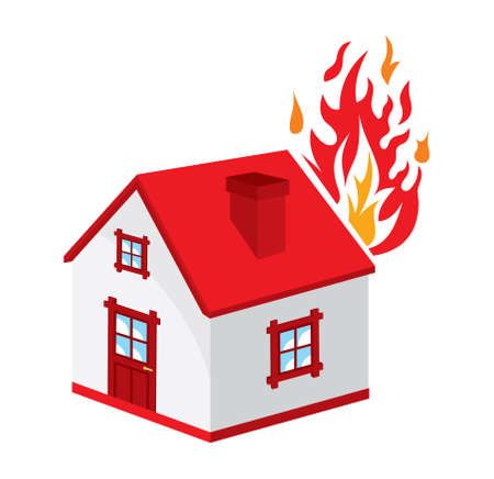 fire damage: home fire icon Illustration
