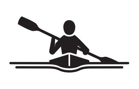 Kayaking vector icon Stock Illustratie