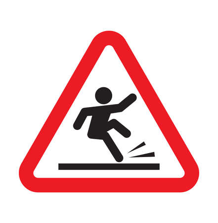male hand: warning falling sign