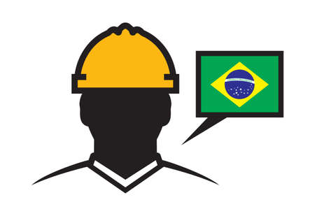 construction projects: Brazil contractor vector icon Illustration