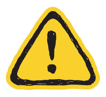 warning mark: Hazard hand drawn warning attention sign with exclamation mark symbol Illustration