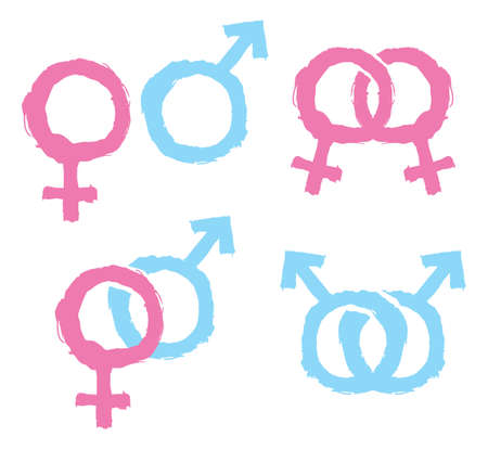 homosexual sex: Male and female gender symbols combination Illustration