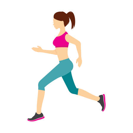 young woman: Running girl vector illustration