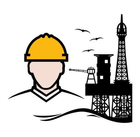 oil platform: Contractor Oil Platform vector icon
