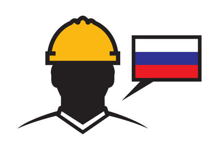 construction projects: Russia contractor vector icon