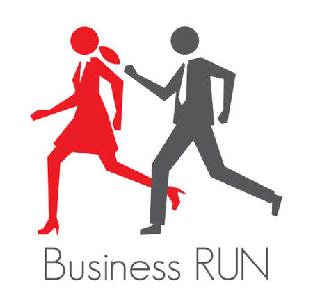 men and women: Business run vector sign Illustration