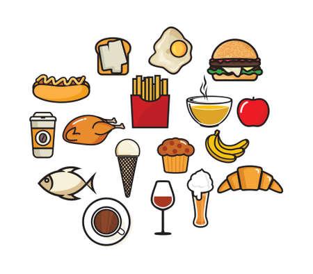 Iconos del vector de los alimentos Ilustración de vector