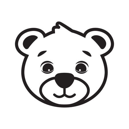 Cute bear cartoon head vector
