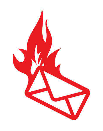 burning: Burning mail vector icon