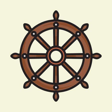 Navire vecteur de roue icône