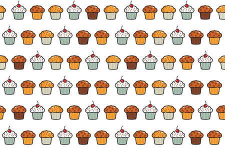 fruit cake: Cup cake seamless pattern