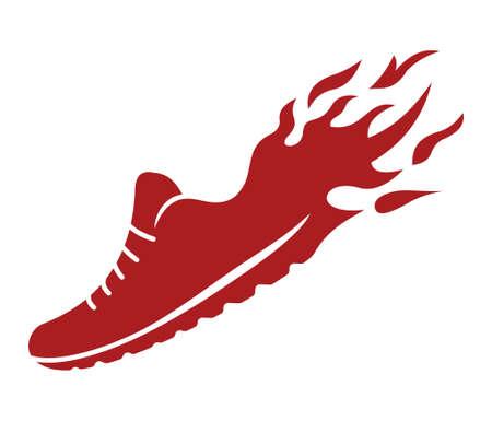Loopschoenen in brand icoon Vector Illustratie