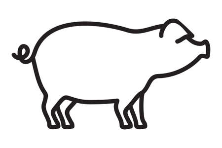 Icono de vector de contorno de cerdo Ilustración de vector